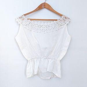 VINTAGE Parisian White Floral Lace Detail Blouse